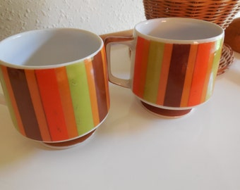 Mugs striped Green, Brown, Orange, Caramel Colored Striped Mugs