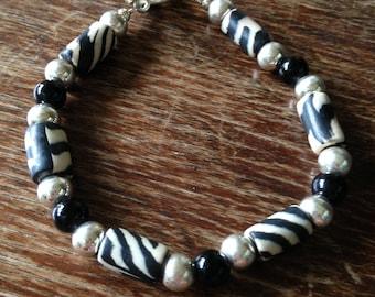 Black and White Sterling Silver Beaded Bracelet