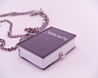 Black Mini Book Death Note Pocket Watch Necklace with 28 Inch Chain