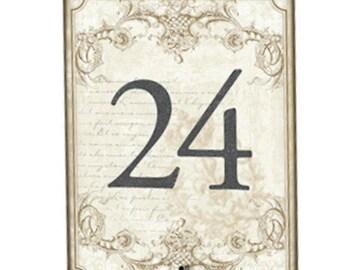 1-24 Vintage Gold Wedding Table Numbers