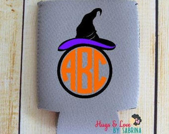 Halloween Witch Monogram Can Cooler