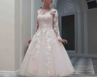 House of Mooshki Original- Charlotte. Blush Calf Length Wedding Gown.