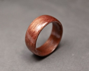 Wooden Ring, Red Mahogany Ring, Bentwood, Men's Wood Wedding Band, Nature Ring