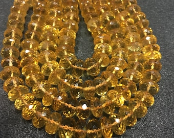 On sale AAA QUALITY Citrine Rondelle Faceted Beads, 8.5mm Approx, 17 Inch Strand