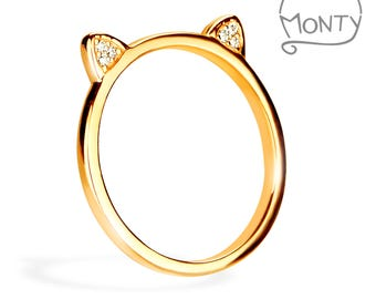 Meow - Sterling Silver Ring (Gold Plated with Zircon Crystals)