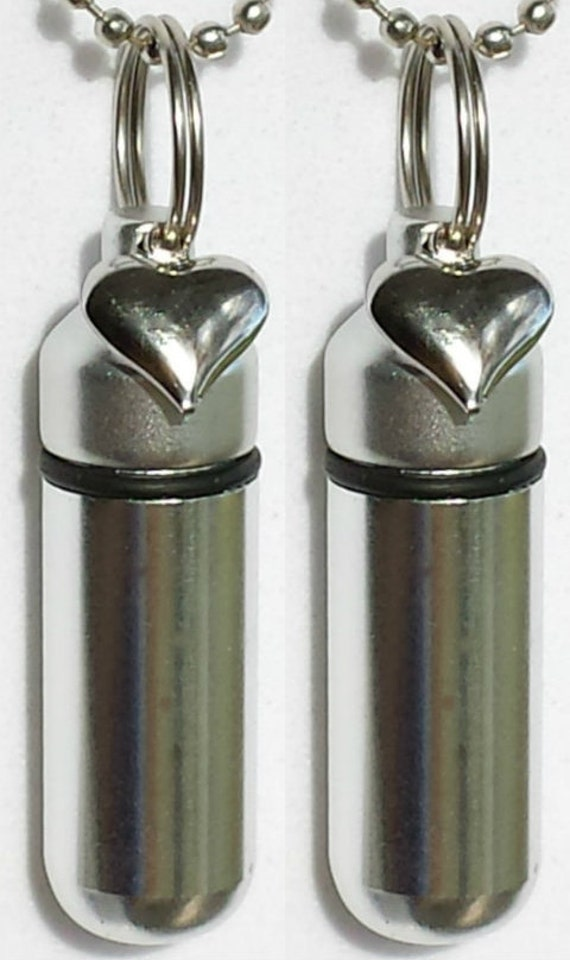 Set of TWO - Silver Anointing Oil Holders with Vials and Silver Puffed Hearts - with 2 Velvet Pouches, 2 Ball Chains, & Fill Kit