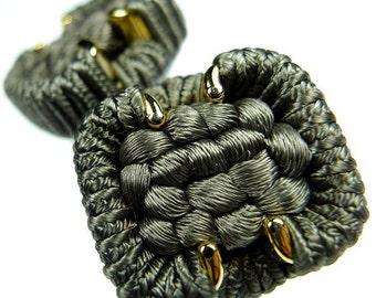 Buttons, thread green grey 2pcs
