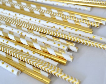 GILDED GOLD FOIL Paper Straws // New Years Eve Party // Gold Decor // Wedding // Party