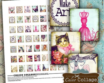 Fanciful, Collage Sheet, Digital Collage, Scrabble Tile, Digital Sheet, Scrabble Tile Images, Scrabble Pendants, Scrabble Images