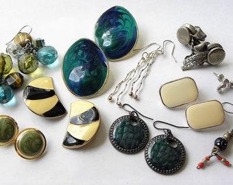 Vintage earring lot, vintage to now earring lot, 10 piece vintage earring lot, vintage drop earrings, vintage jewelry lot, earring lot