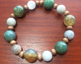 Green, Teal, Natural Stone and Wooden Beaded stretch Bracelet Green Bracelet Teal Bracelet