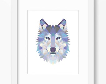 Wolf Print, Wolf Art, Wolf Wall Art, Geometric Wolf Print, Wolf Print, Origami Wolf, Geometric Wolf, Triangle Wolf, Wolf Face, Triangle Wolf