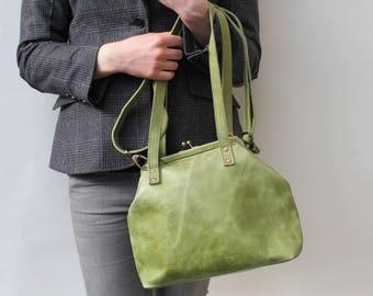 Half-Maya Clip Bag apple Leather