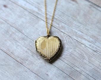 L.S. Co. Vintage Gold Heart Locket, 12k Gold Filled on Sterling, 14k Gold Filled Chain