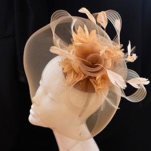 Beige Camel Fascinator Hat Veil Net Hair Clip Ascot Derby Races Wedding Headband Feather Flower