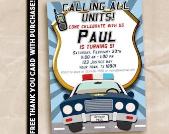 Police Birthday Party Invitation. Printable Digital 5x7. FREE THANK YOU Card!