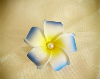 Turquoise flower hair barrette clip artificial plumeria