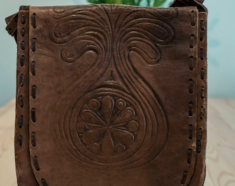 70s Brown Tooled Leather Handbag