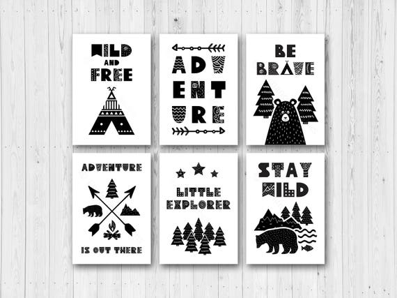 Set of 6 scandi nursery art prints black white nursery