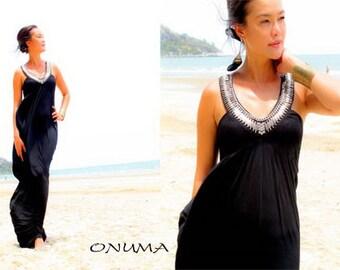 Summer Black Silver  Sleevelless Beach evening long maxi dress S M L