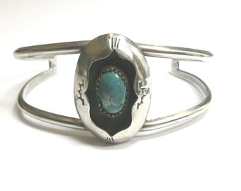 navajo turquoise sterling cuff bracelet | turquoise cuff bracelet