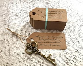 "Skeleton Key BOTTLE OPENERS + ""Poem"" Thank-You Tags – Wedding Favors set of 50 - Ships from United States - Antique Bronze - Josephine"