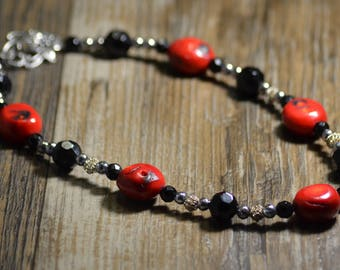 Red Coral Choker Necklace, Black Crystal Czech Glass Bead, Metal Filigree Beads, Silver Clasp, Evening Out, Women, Unique, Elegant, Fun