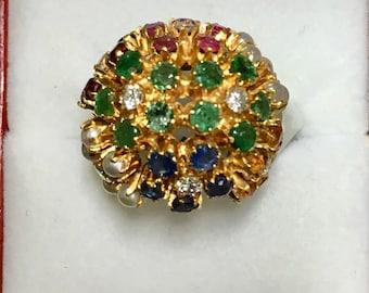 Vintage 18k diamond multi gemstone dome ring Bombe Style
