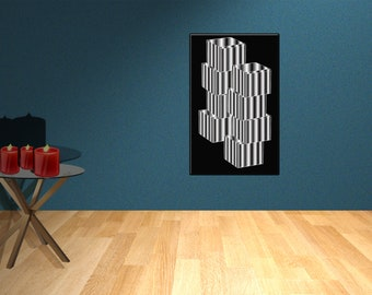 Decorative laminate black and white cubes, decorative laminate room, white frame, ready to ship.