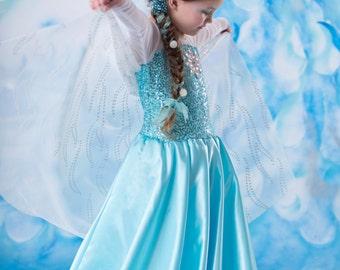 Frozen costume Elsa dress  8 satin skirt style