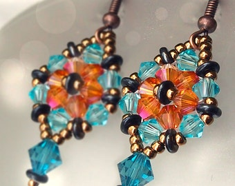 Tutorial Crystal Hexagon earrings for beginners, with free Triangle weave lesson for beginners, earrings beading pattern, pdf download