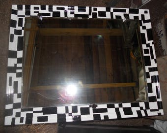 Reclaimed painted frame with mirror