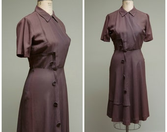Vintage 1940s Dress • Capucine • Brown Rayon Faille War Era 40s Day Dress Size Medium