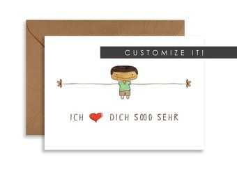"""Custom greeting card, love Thiiis Much, cute gift for him 5""""x7"""" card, boy hand drawn, personalized greeting card in any language"""