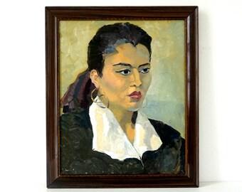 Woman with Hoop Earrings - Vintage Portrait - Large Original Oil Painting - Woman Painting