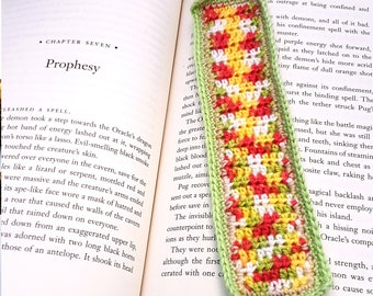 Bookmark - Apple Blossom Crochet - Green, red and yellow