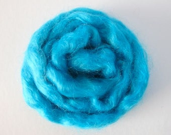 Hand Painted Mohair Top - Turquoise 1oz