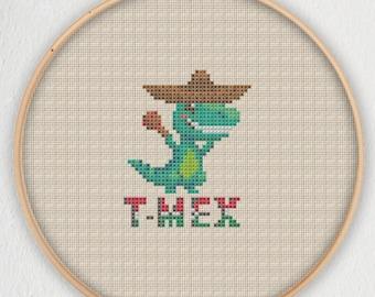 T-Mex Cross Stitch Pattern - Instant Download PDF