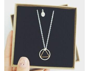 Long Geo Brass Pendant Necklace