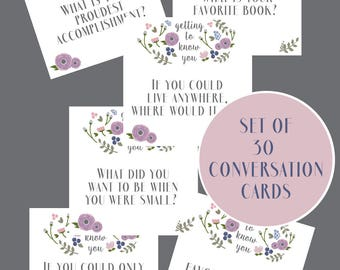 Conversation Cards - Party Game - Party Decor - Activity Idea - Instant Download Party Printable - Dinner Party Printable - Purple & Navy