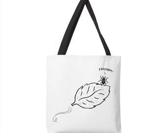 "The Gleeful Beetle -  black and white - tote bag - book bag - (13"" x 13"") - (16"" x 16"") - (18"" x 18"")"
