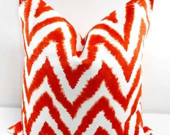 Orange Pillow. Zigzag Pillow cover. Orange and white Sham cover. Cushion cover. Tangelo. Select your size.