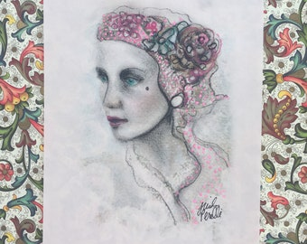 Vintage Fantasy Romantic Floral Girl Art