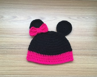 Crochet Mouse Hat With Bow