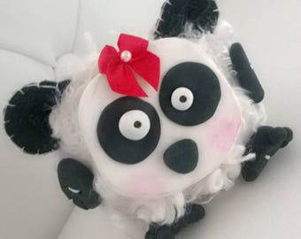 Panda Bear Stuffed Animal Crazy Gift Ooak Plush Plushie Soft Softie Black White Mixed Media