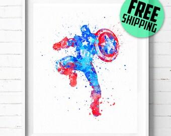 Avengers Captain America print, Captain America poster, Superhero print, Captain America watercolor art, wall art, Marvel art, [49] decor