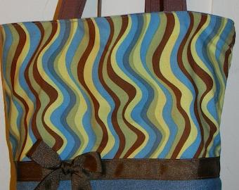 Blue & Brown Wavy  Fancy Stripe  Funky Mod 60's Swirl BAG Purse Tote or Diaperbag