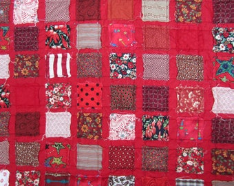 Raw Edge Red Scrappy Quilt