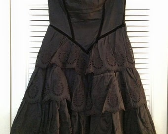 Strapless Black Goth Betsey Johnson Dress