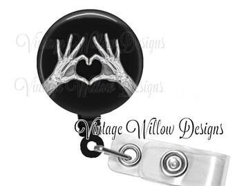 Heart Shaped Hands Xray Retractable ID Badge Reel